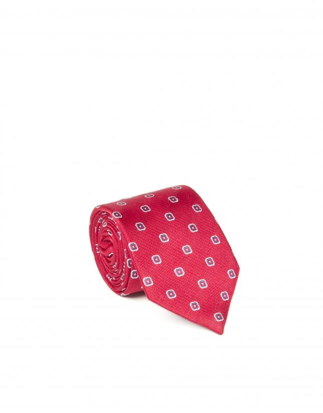 Red flower print tie