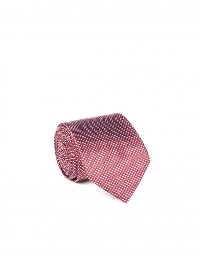 Cravate rouge founcé à micromotifs