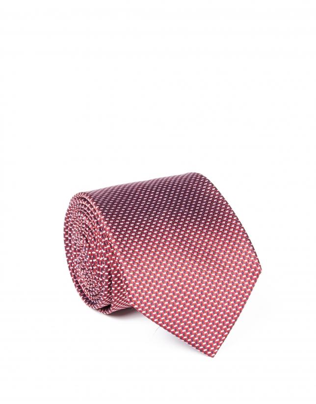 Corbata microdibujo rojo oscuro
