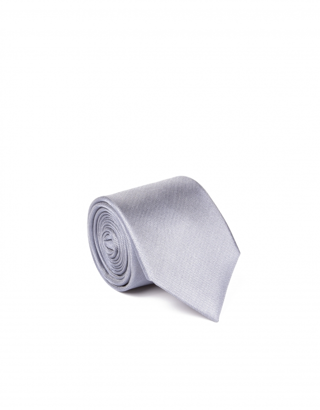 Light gray microprint tie