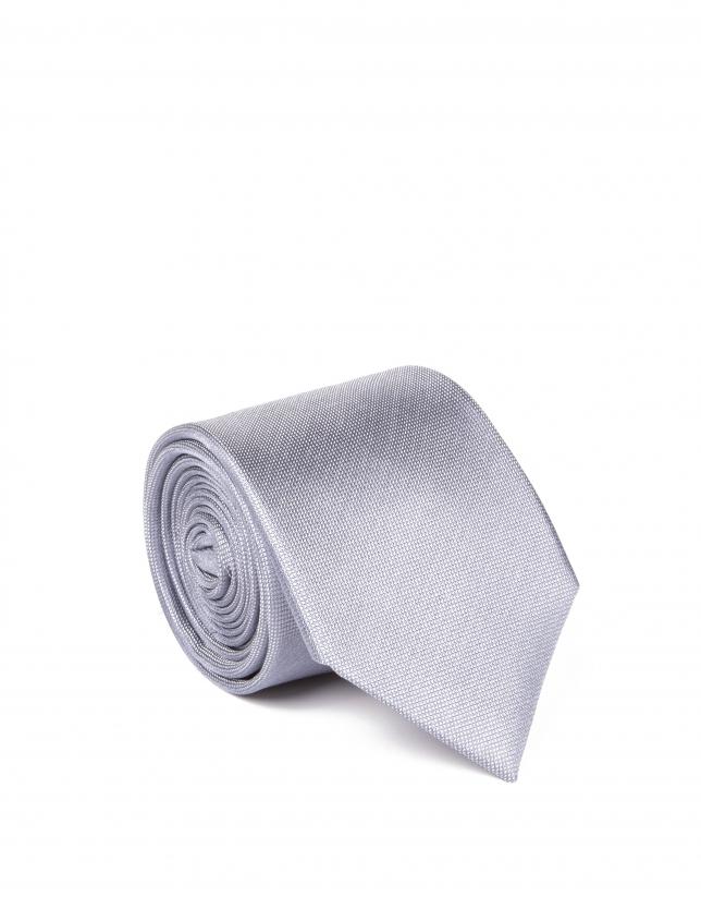 Cravate gris clair à micromotifs