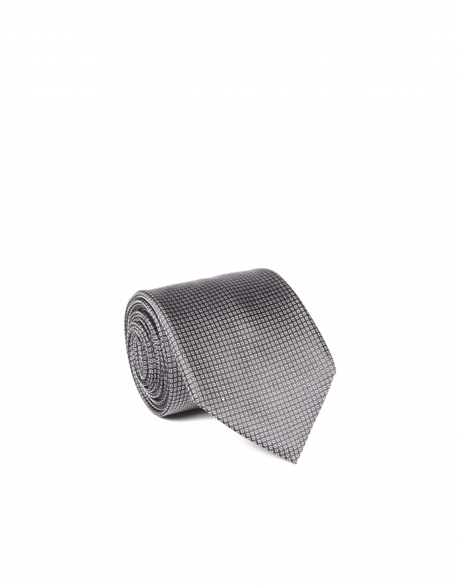 Dark gray microprint tie