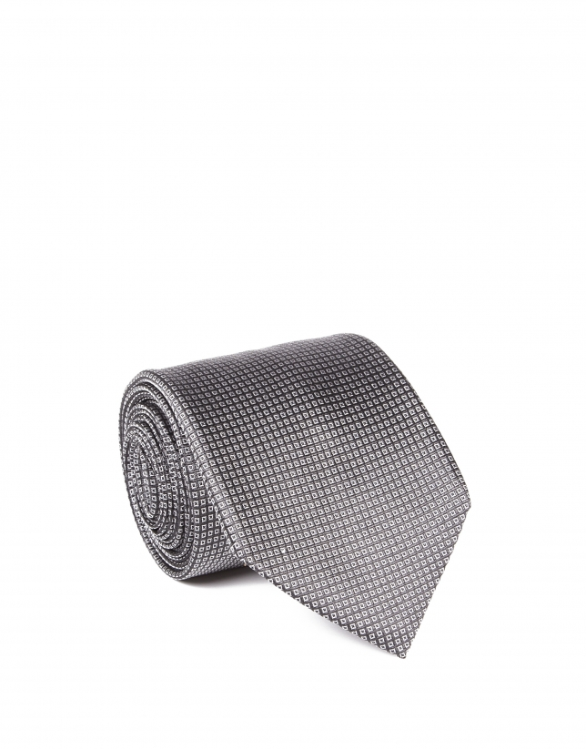 Corbata microdibujo gris oscuro