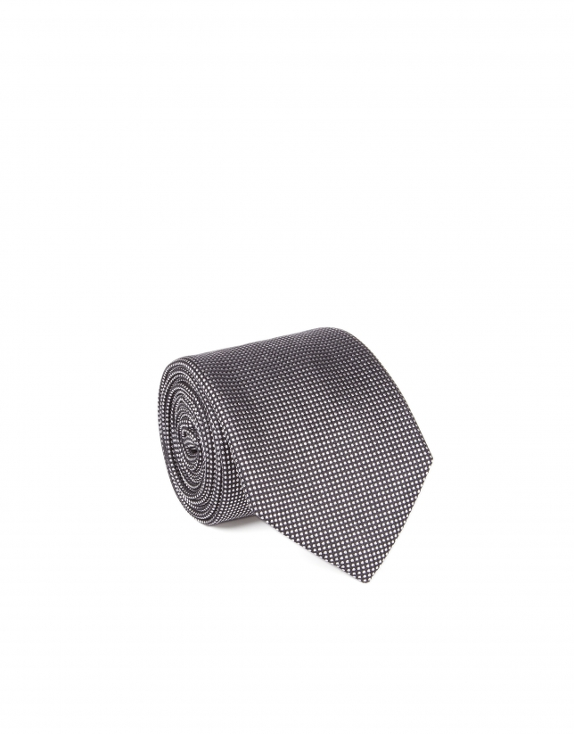 Gray microprint tie