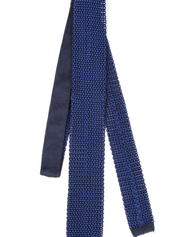 Blue knit tie