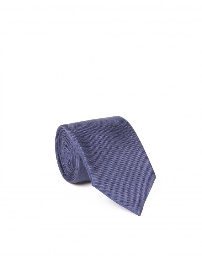 Plain navy blue tie