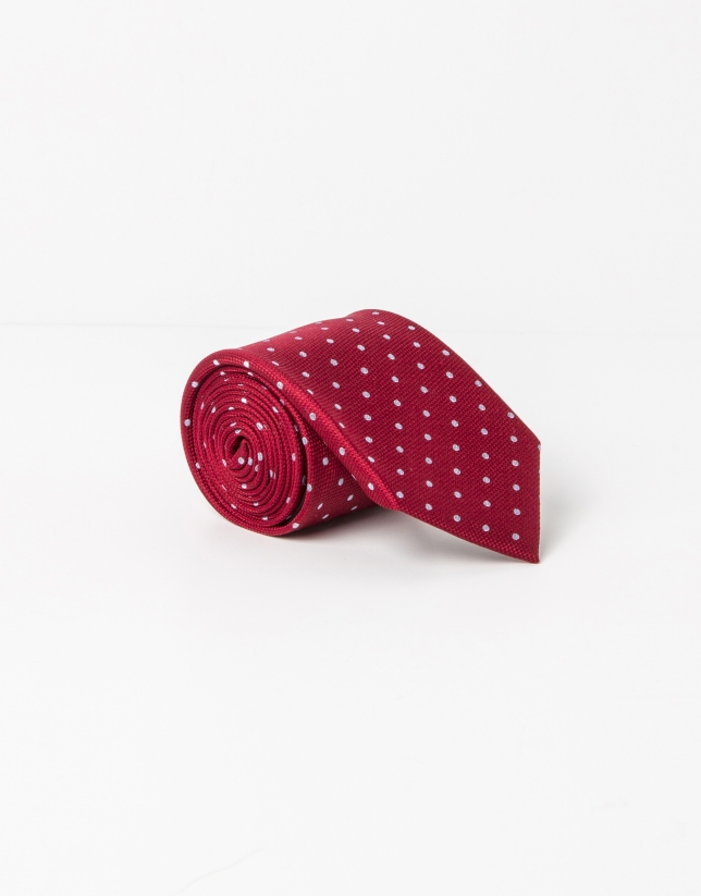 Red tie with beige dots