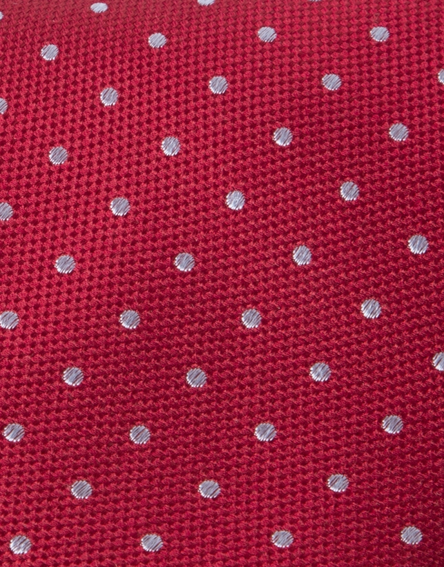 Red tie with beige dots