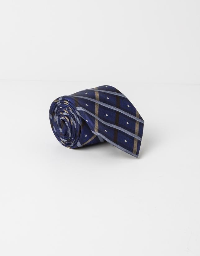 Corbata cuadros beige y marrón