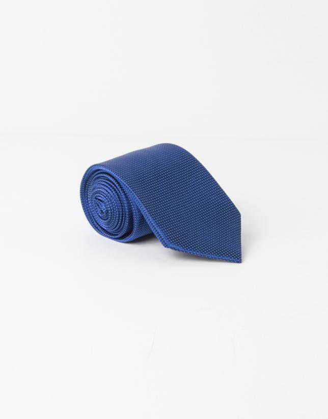 Dark blue microstructure tie