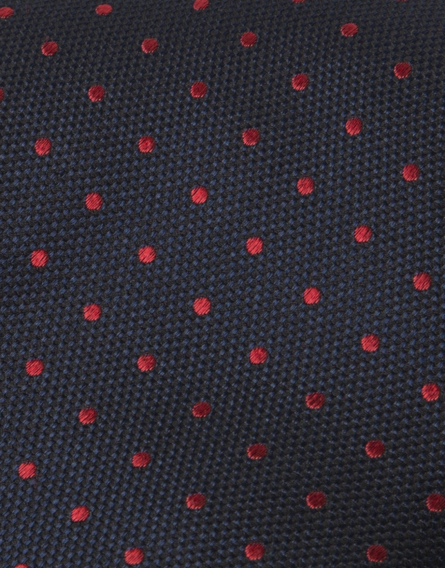Navy blue tie with red dots