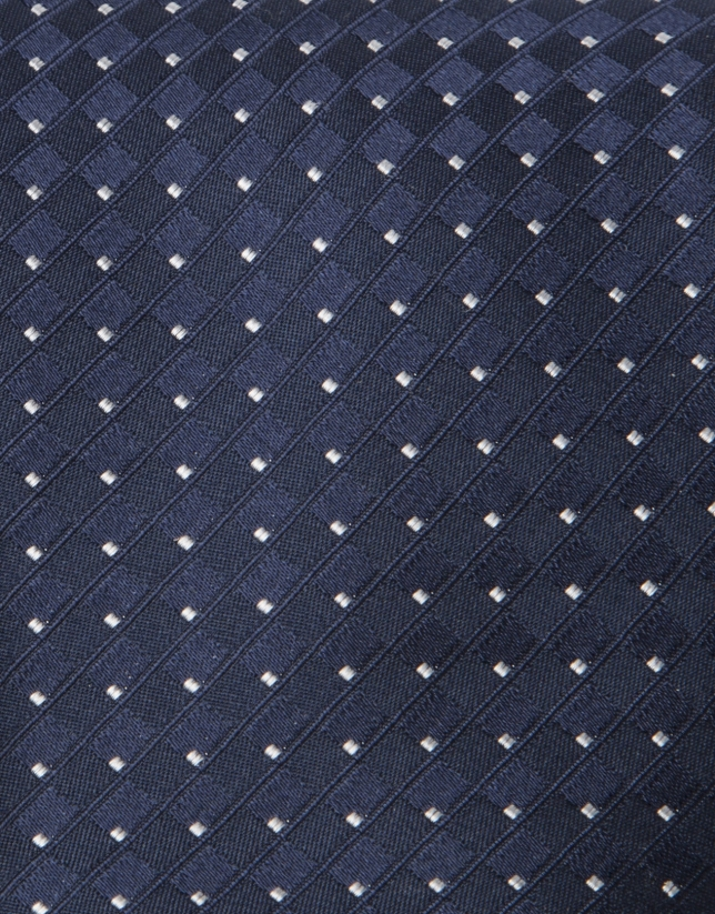 Navy blue tie with light blue dots
