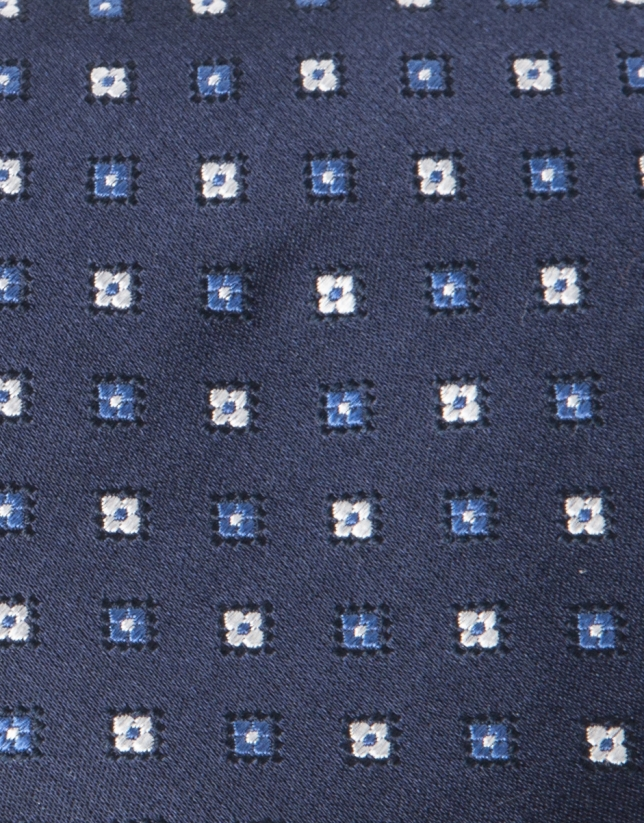 Navy blue and grey microprint tie