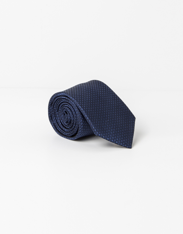 Blue and black microstructure tie