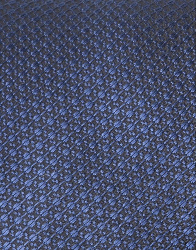 Cravate microstructurée bleu roi et noire