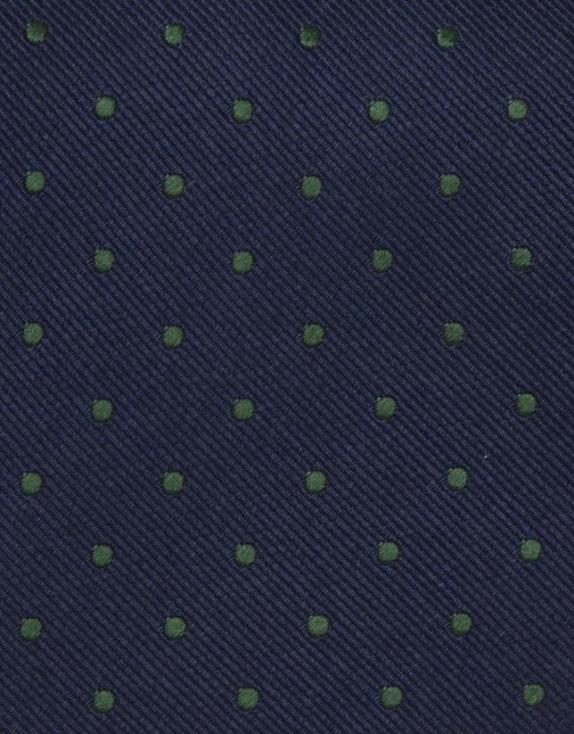 Cravate à pois verts sur fond bleu marine