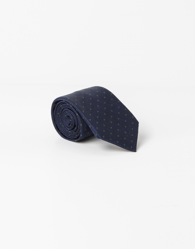 Navy blue tie with green dots