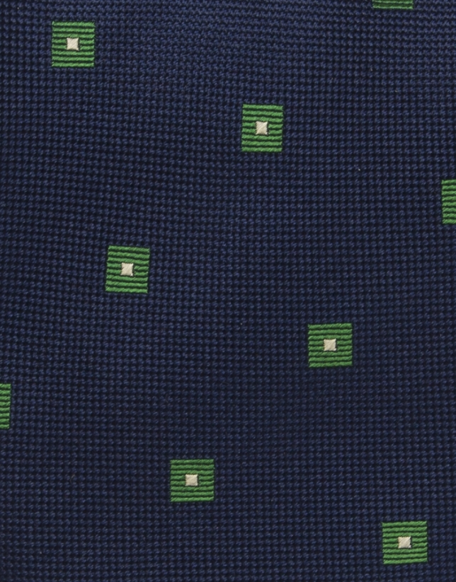 Navy blue and green checked tie