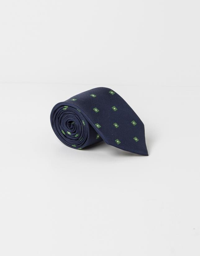 Corbata cuadritos verdes fondo marino