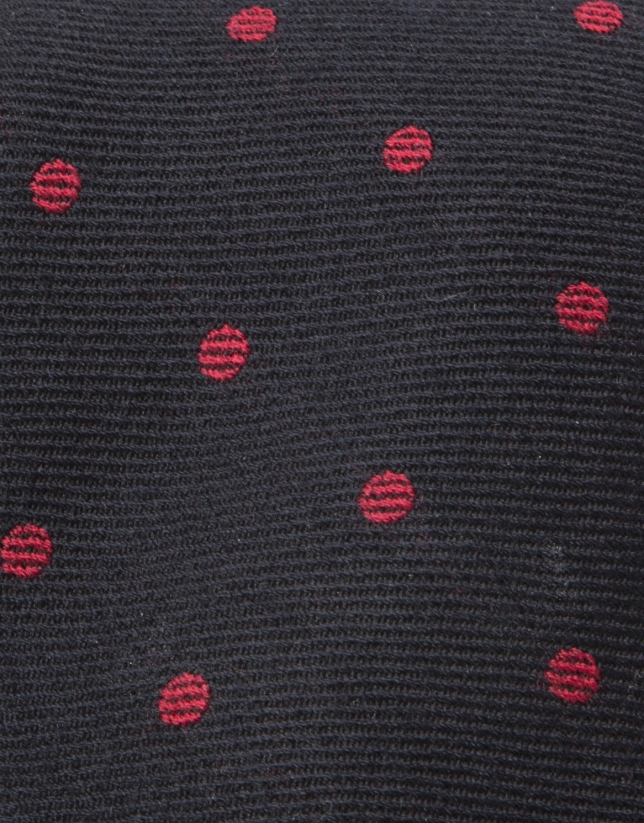 Cravate à pois gris dur fond noir
