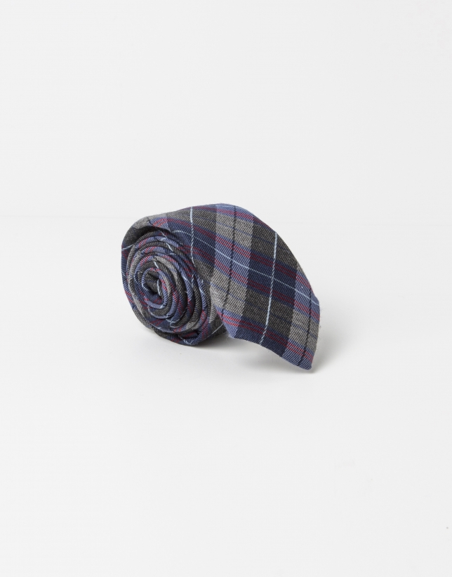 Checked silk/wool tie