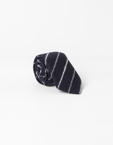 Navy blue and gray striped tie