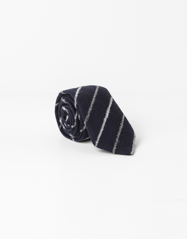 Navy blue and grey striped tie