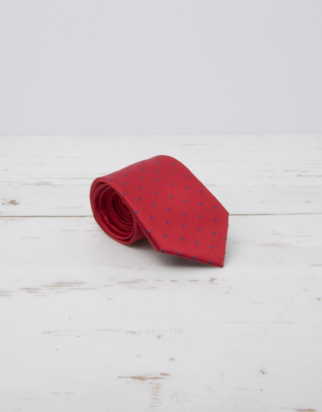 Navy blue dotted tie