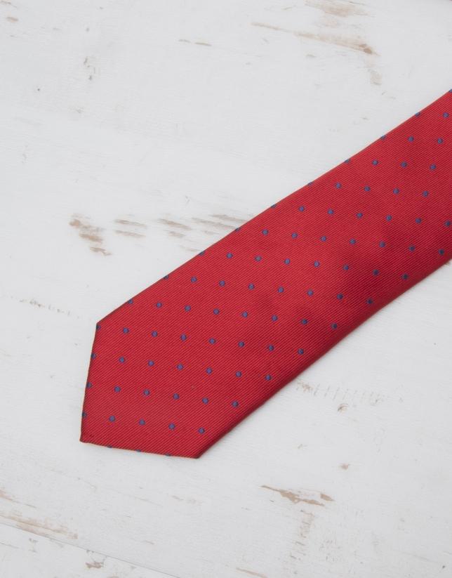 Cravate à pois bleu marine