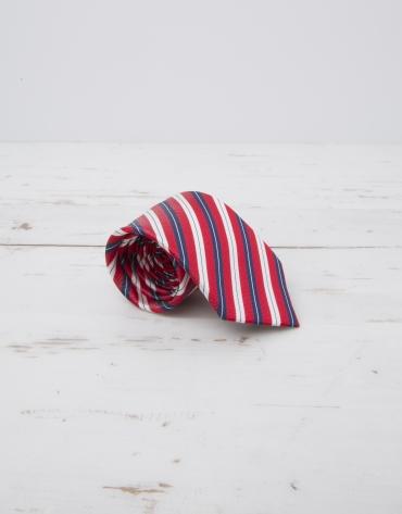 Navy blue / red striped tie