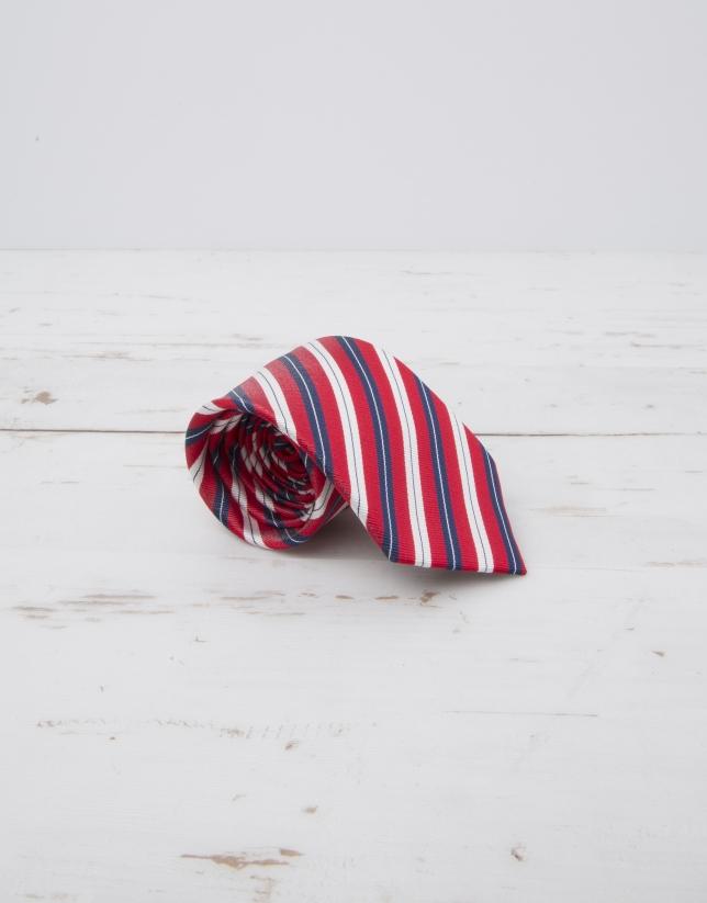 Cravate à rayures en rouge et bleu marine