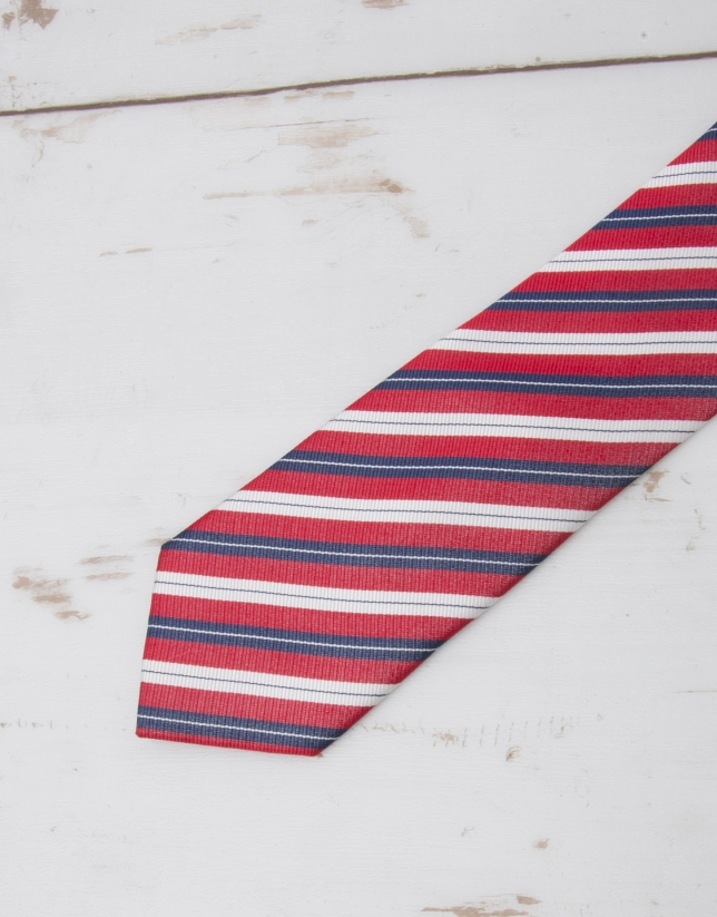 Navy blue / red striped tie