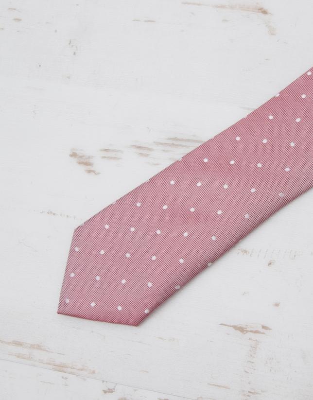 Cravate microstructurée rouge et écru