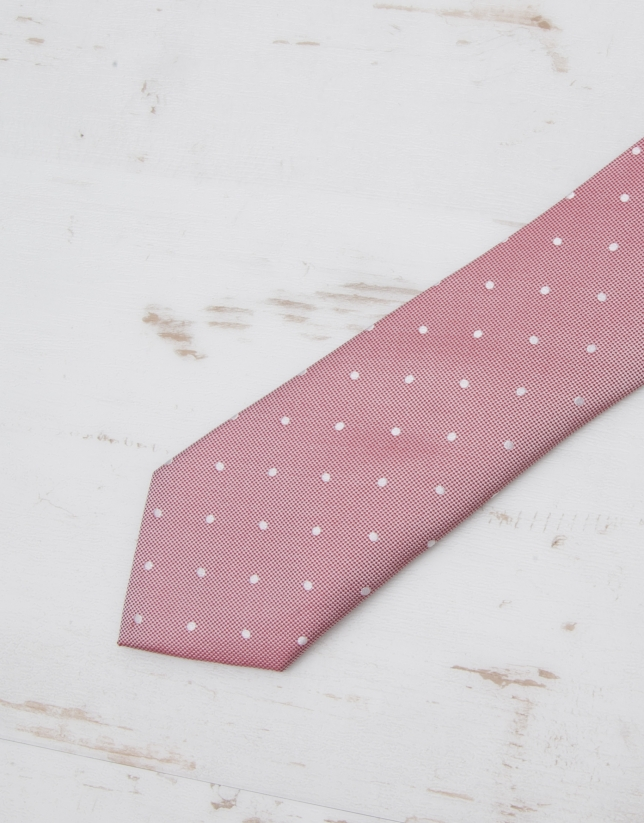 Red / ivory micro structured tie