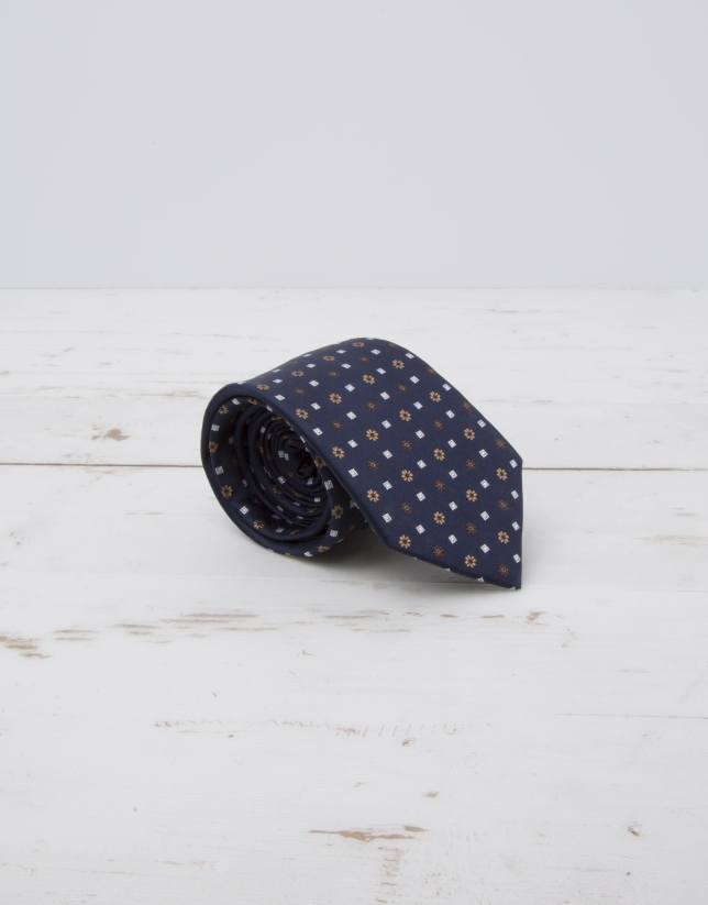 Navy blue tie with beige flowers