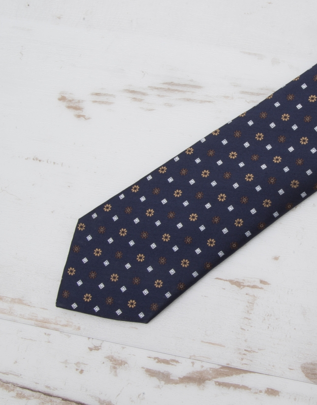 Cravate bleu marine fleurs en beige