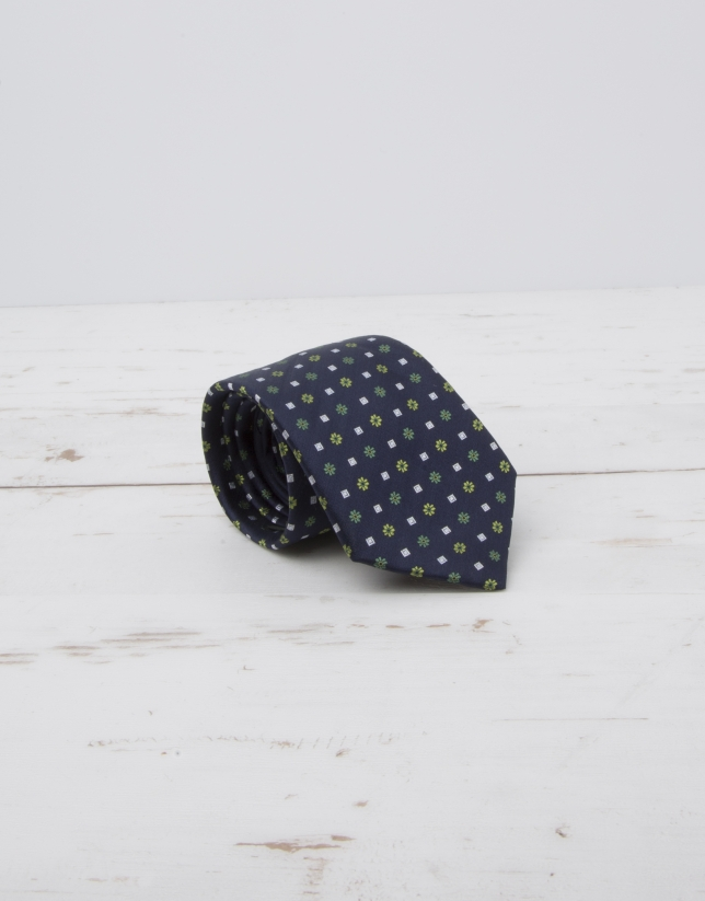 Cravate bleu marine fleurs en vert