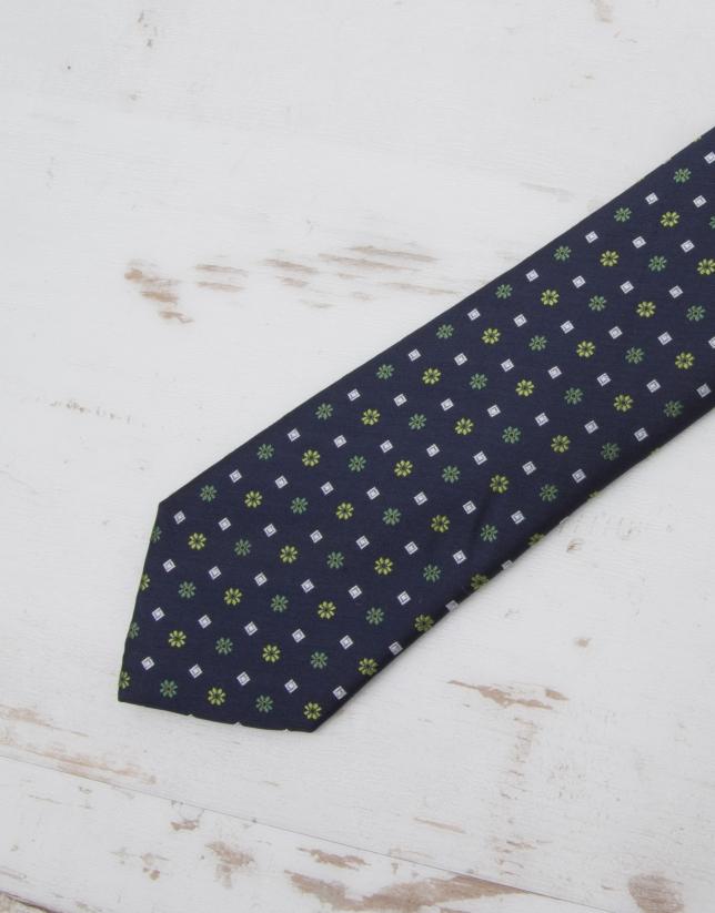 Corbata marino flores verdes
