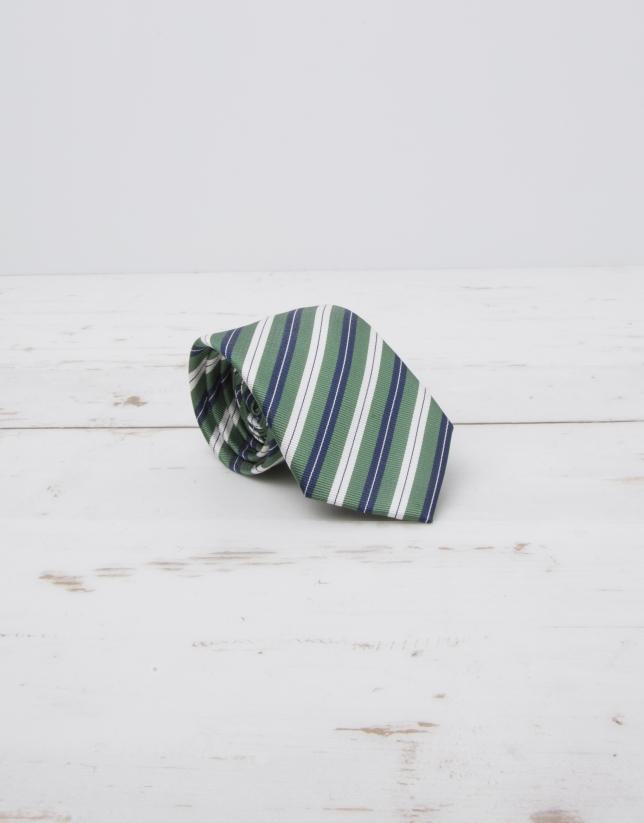 Corbata rayas crudo/marino