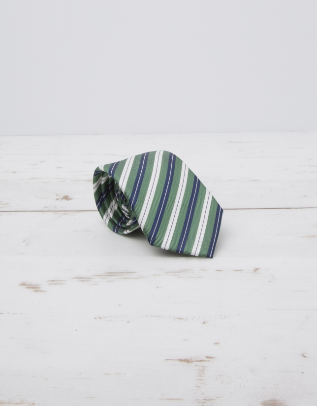 Cravate à rayures en écru et bleu marine