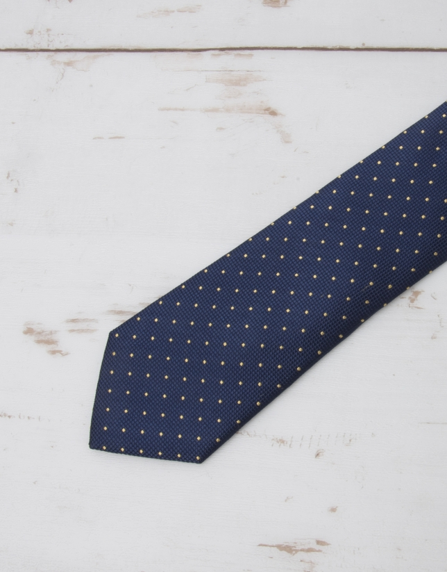 Navy blue tie with yellow dots