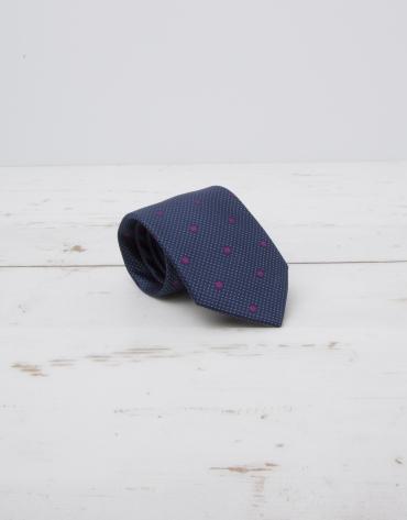 Cravate bleu marine à grands pois violets