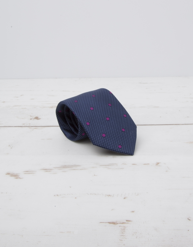 Navy blue tie with large purple dots