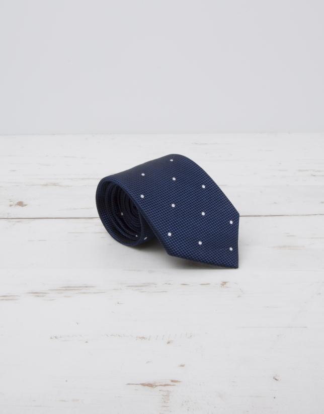 Cravate à pois écrus