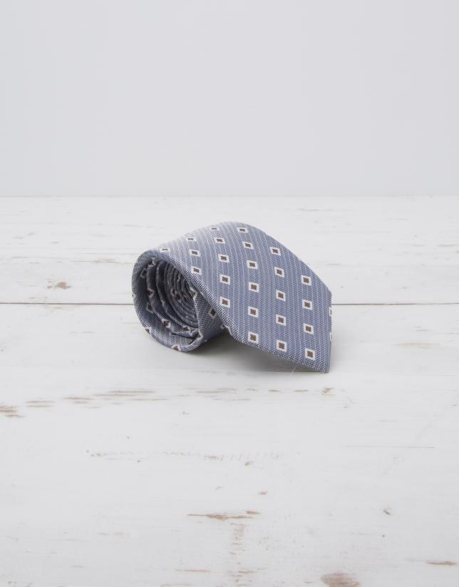 Brown /ivory diamond print tie