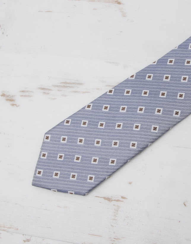 Brown /ivory diamond print tie