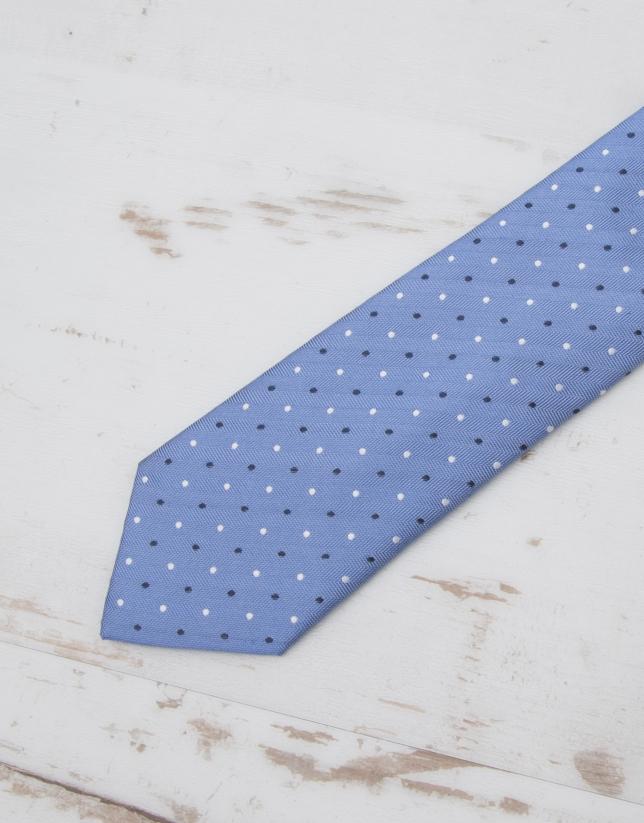 Cravate à chevrons bleu ciel et pois bleu marine