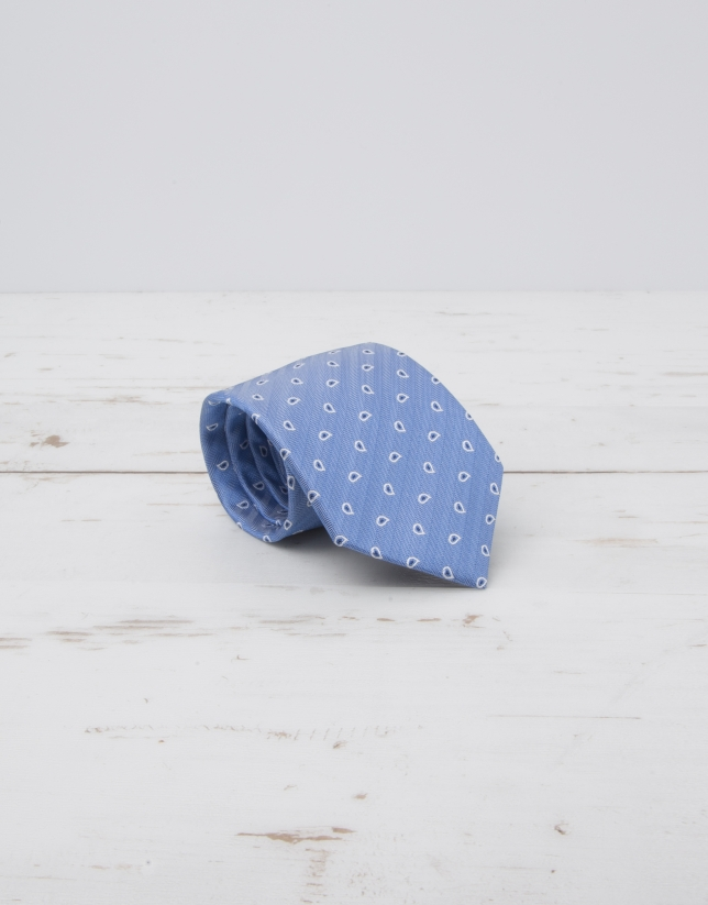 Cravate à chevrons bleu ciel et amibes en écru