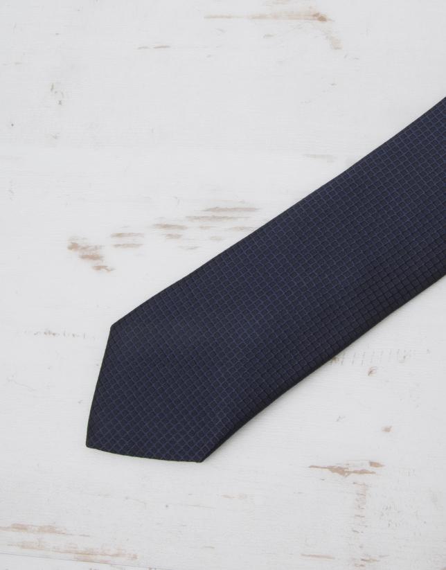 Navy blue structured tie