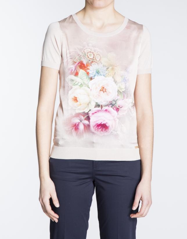 T-shirt nude avec motif floral en soie.